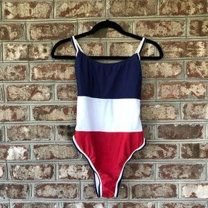 Xhilaration NWT Striped One Piece Swimsuit Sz L